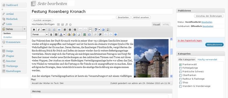 Editor zum Bearbeiten der WordPress Webseite