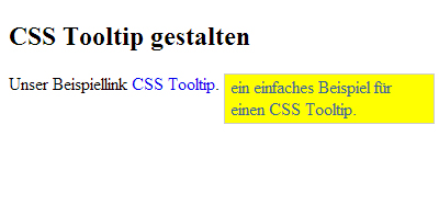 einen einfachen CSS Tooltip gestalten