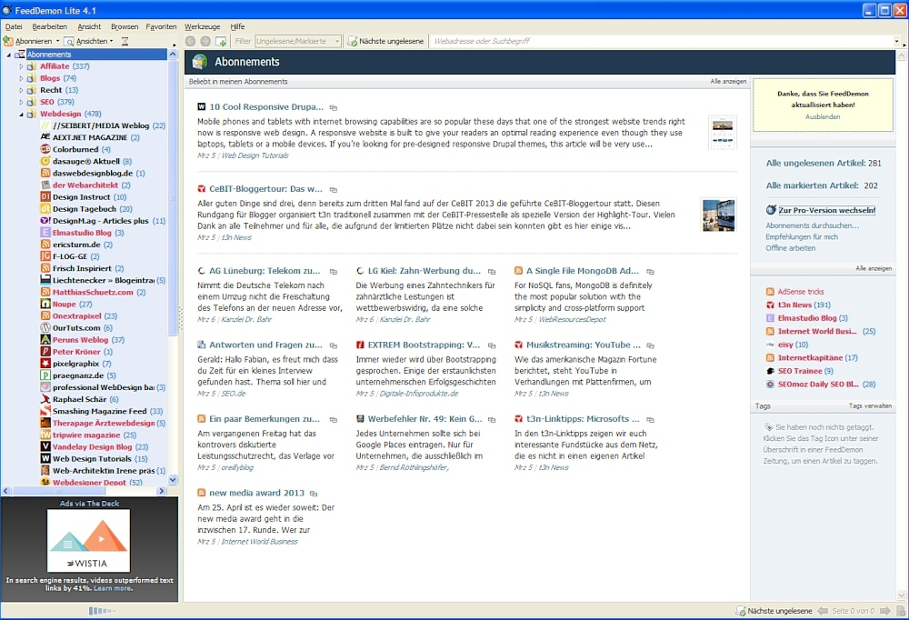 FeedDemon ist ein kostenloser RSS Feedreader.