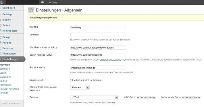 WordPress bei Installation in Unterverzeichnis über Hauptdomain aufrufen